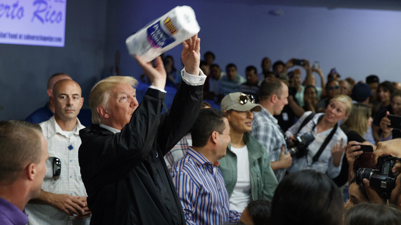 Trump throws paper towel in Puerto Rico